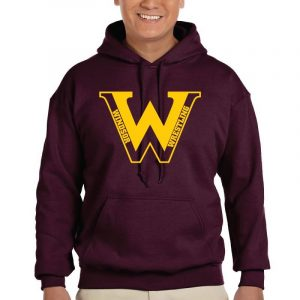 WMS Wrestling Adult Maroon Pullover Hooded Sweatshirt