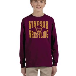 WMS Wrestling Youth Maroon Long Sleeve Cotton T-shirt