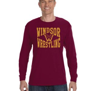 WMS Wrestling Adult Maroon Long Sleeve Cotton T-shirt