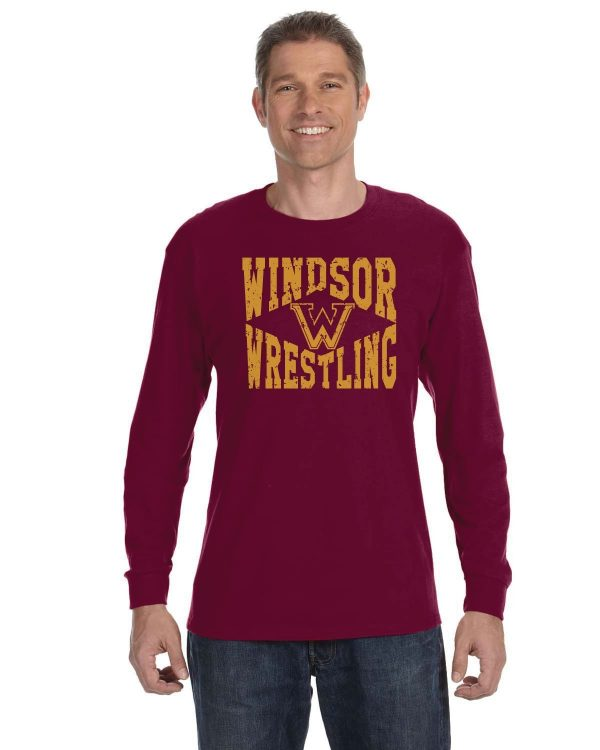WMS Wrestling Adult Maroon Long Sleeve Cotton T-shirt