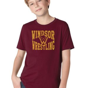 WMS Wrestling Youth Maroon Short Sleeve Cotton T-Shirt