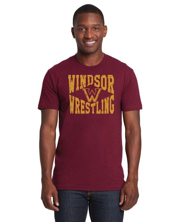 WMS Wrestling Adult Maroon Short Sleeve Cotton T-shirt