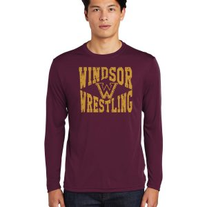WMS Wrestling Adult Maroon Performance Long Sleeve T-shirt