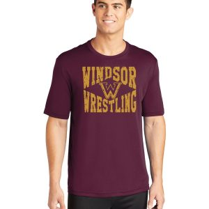 WMS Wrestling Adult Maroon Performance Short Sleeve T-shirt