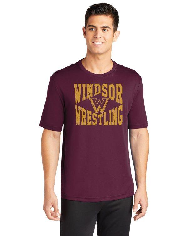 WMS Wrestling Adult Maroon Performance Short Sleeve T-shirt