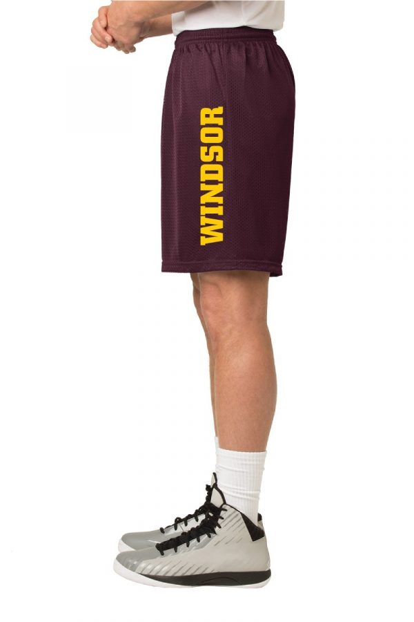 WMS Wrestling Adult Maroon Mesh Short