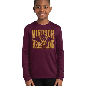 WMS Wrestling Youth Maroon Performance Long Sleeve T-Shirt