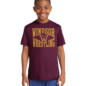 WMS Wrestling Youth Maroon Performance Short Sleeve Shirt