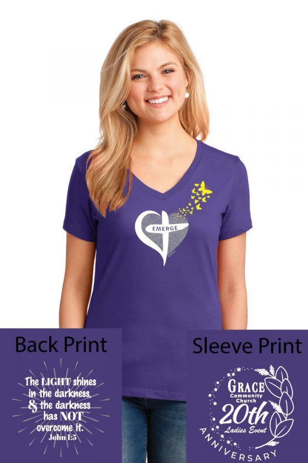 Port & Company Ladies Cotton Core V-Neck T-Shirt